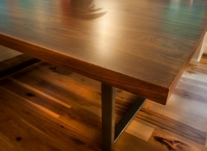 rustic top with steel base dining table